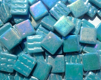 Deep Teal Iridescent Glass 12mm Square Mosaic Tiles - 50g
