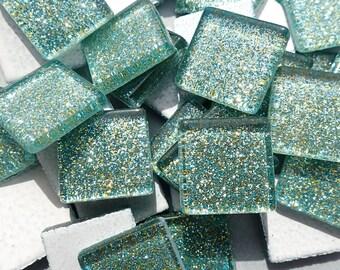 Jungle Green Glitter Tiles - 20mm