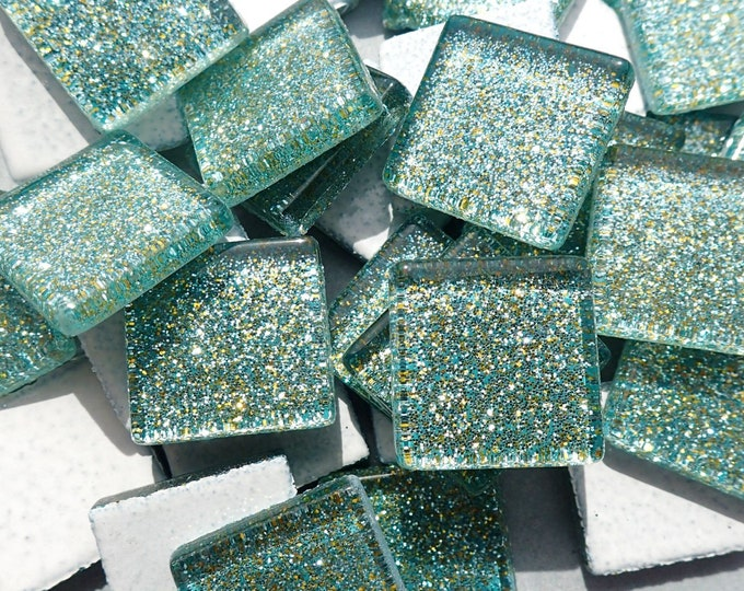Jungle Green Glitter Tiles - 20mm