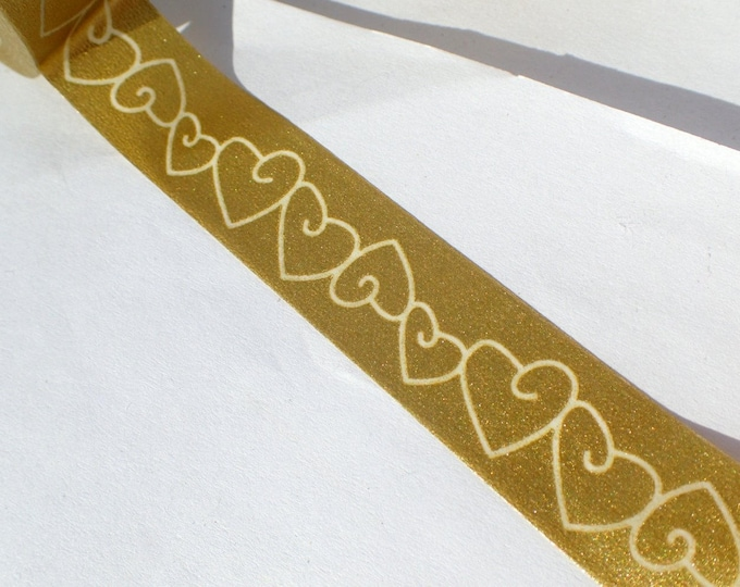 Gold Hearts Washi Tape - Paper Tape Wedding Anniversary Engagement Decorations Cards Scrapbooking - 15mm x 10m