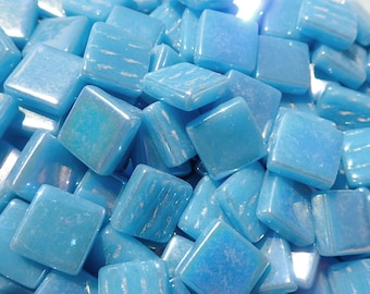 Lake Blue Iridescent Glass Square Mosaic Tiles - 12mm - 50g