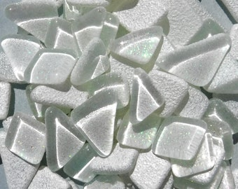 White Glitter Puzzle Tiles - Assorted Shapes Glass Mosaic Tiles - 100 grams - Snow Icicle