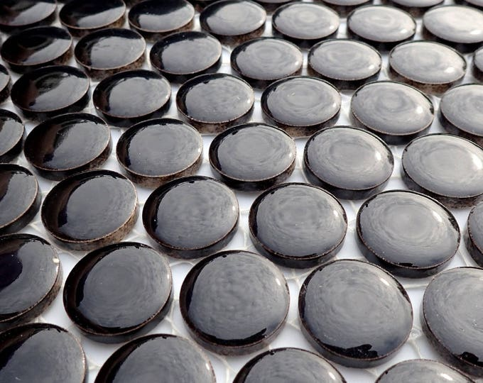 Black Ceramic Tiles - Round Mosaic Tiles - 2 cm or .75 inch - 25 Tiles - Circles Penny Rounds