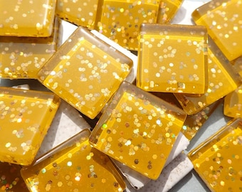 Harvest Gold Glitter Tiles - 20mm Mosaic Tiles - 25 Metallic Glass Tiles with Chunky Gold Glitter