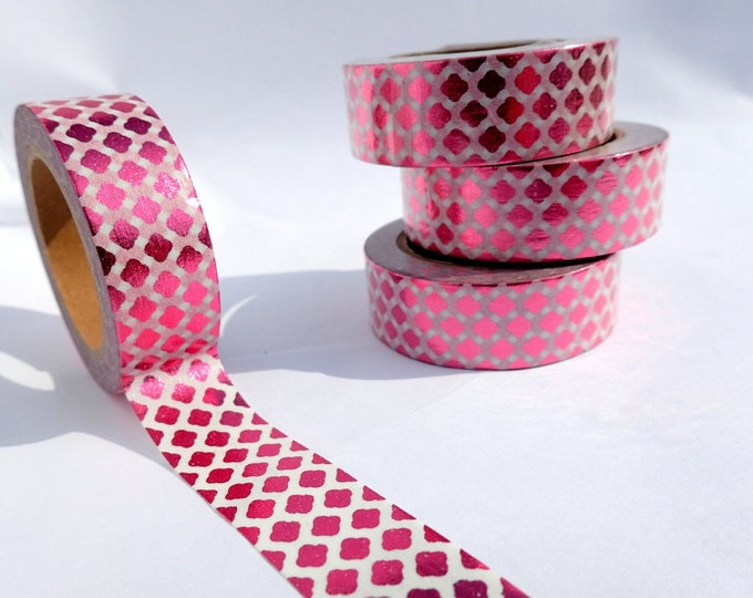 Pink Diamonds Foil Washi Tape - Paper Tape Great for Scrapbooking Paper Crafts and Mixed Media - Raspberry Pink Curvy 15mm x 10m