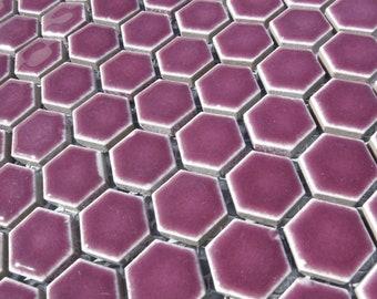 Dark Berry Hexagon Mosaic Tiles - 25 Large Ceramic 3/4 Inch Honeycomb Tiles