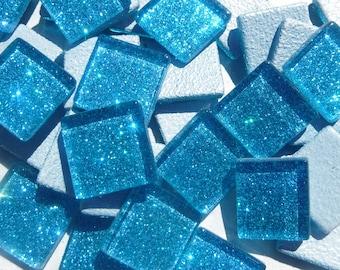 Sky Blue Glitter Tiles - 20mm Mosaic Tiles - 25 Metallic Glass Tiles in Medium Blue