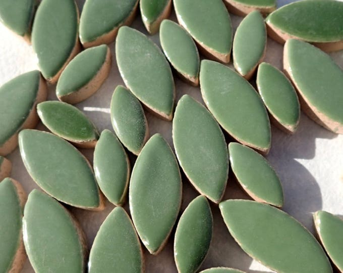 "Green Petals Mosaic Tiles - 50g Ceramic Leaves in Mix of 2 Sizes 1/2"" and 3/4"" - Eucalyptus Green"
