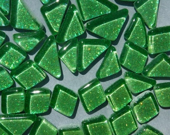 Bright Candy Green Glitter Puzzle Tiles - 100 grams in Assorted Shapes