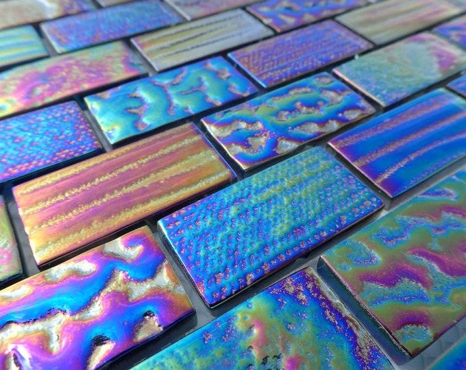 "Black Iridescent Glass Textured 1"" x 2"" Bars - Set of 5 Metallic Bricks"