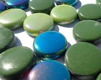 Rainforest Green Mix Glass Drops Mosaic Tiles - 100 grams Vase Fillers - 20mm Flat Marbles Mix of Gloss and Iridescent Glass Gems
