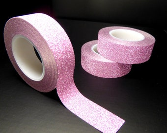 Glitter Washi Tape in Pink - Paper Tape Great for Scrapbooking Paper Crafts and Decorations - Light Pink  15mm x 10m