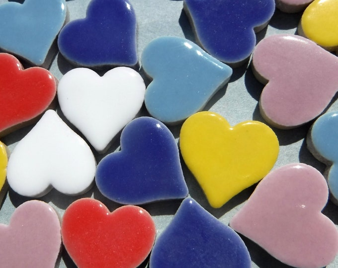 "Heart Mosaic Tiles - 50 Ceramic 3/4"" Inch Tiles in Assorted Colors"