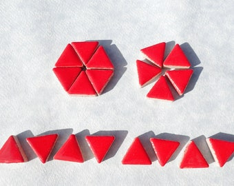 Bright Red Mini Triangles Mosaic Tiles - 50g Ceramic - 15mm in Lipstick Red