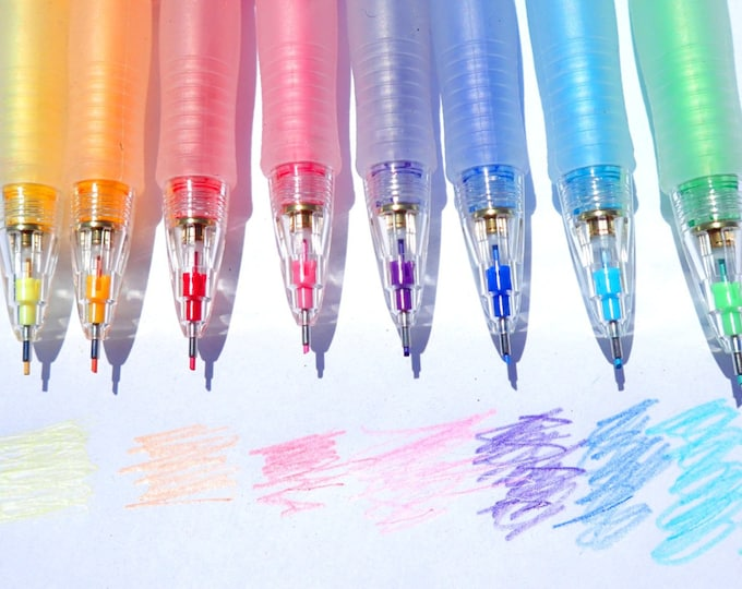 Color Mechanical Pencils - 8 Colors Set - PILOT Eno 0.7mm lead - Refillable Fun for Adult Coloring
