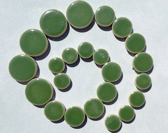 """Eucalyptus Green Circles Mosaic Tiles - 50g Ceramic in Mix of 3 Sizes 1/2"""" and 3/4"""" and 5/8"""""""