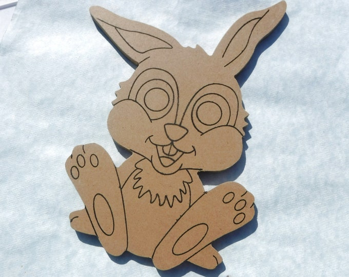 Rabbit Plaque -  Use as a Base for Mosaics Decoupage or Decorative Painting - Unfinished MDF Small 8 inch Sign Bunny