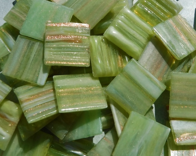 Green with Gold Vein Glass Mosaic Tiles Squares - 3/4 inch - 25 Tiles - Celery Green