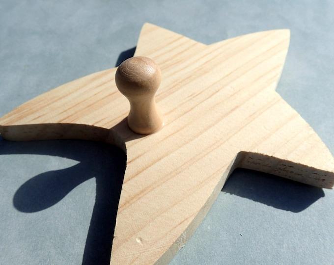 Star Unfinshed Wooden Hanger with Shaker Peg