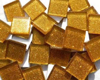 Gold Glitter Tiles - 20mm - 25 Mosaic Glass Tiles