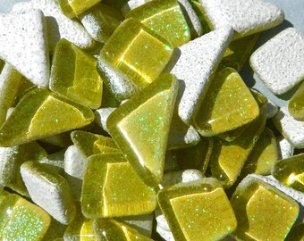 Yellow Glitter Puzzle Tiles - 100 grams in Assorted Shapes