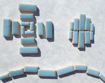 """Light Blue Mini Rectangles Mosaic Tiles - 50g Ceramic in Mix of 3 Sizes 3/8"""" and 5/8"""" and 3/4"""" in Azure"""