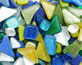 Rain Flower Glitter Tiles - Assorted Shapes in Blues Greens Yellows and White - 100g