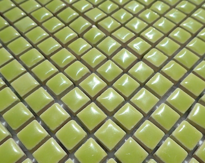 Kiwi Green Square Mosaic Tiles - 1 cm Ceramic  - Half Pound