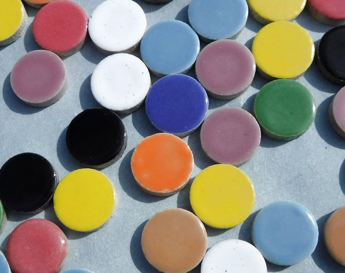 "Circle Mosaic Tiles - 50 Ceramic 3/4"" Inch Tiles in Assorted Colors"