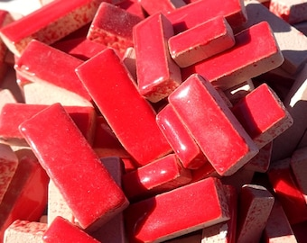 "Bright Red Mini Rectangles Mosaic Tiles - 50g Ceramic in Mix of 3 Sizes 3/8"" and 5/8"" and 3/4"" in Lipstick Red"