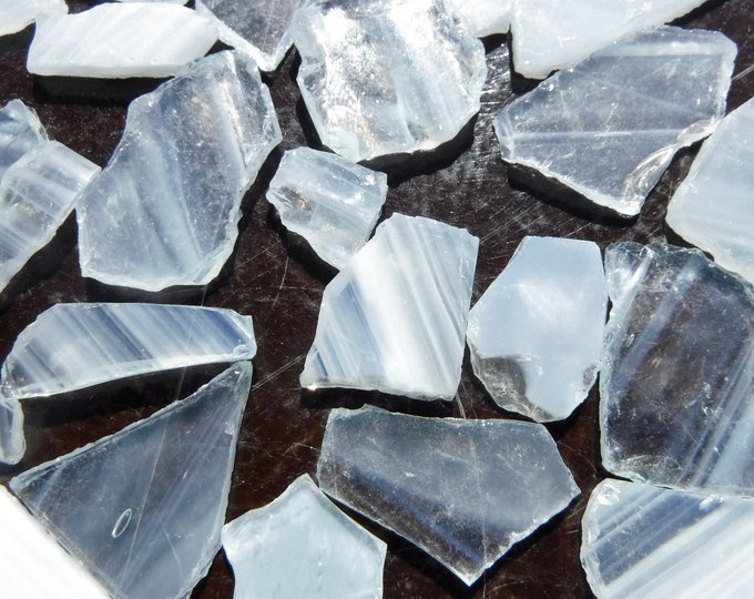 Whispy White Glass Shards  - 1/2 Pound Assorted Pieces