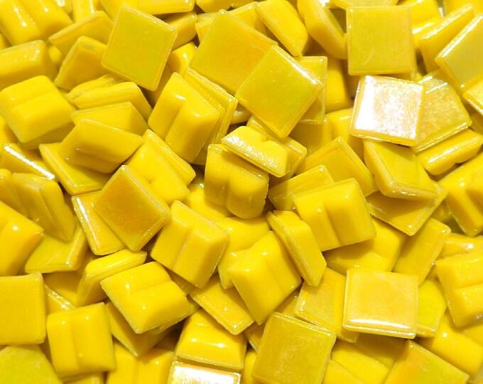 Lemon Yellow Iridescent Venetian Glass Tiles - 1 cm - Approx 3/8 inch - Mosaic Tiles - 100 grams - 10mmx10mmx4mm Mini Mosaic Tiles