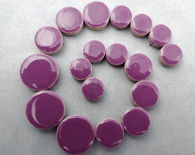 "Purple Circles Mosaic Tiles - Mix of 3 Sizes 1/2"" and 3/4"" and 5/8"" - 50g"