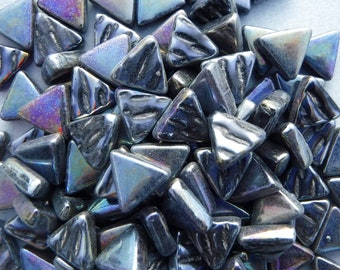 Small Black Iridescent Triangles - 10mm - Opaque Glass Solid Color - 50g