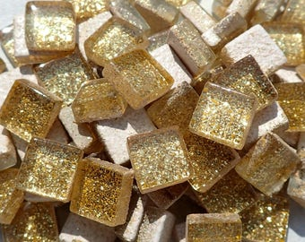 Gold Glitter Tiles - 1 cm - Use for Mosaic Jewelry Crafts - 100 Metallic Tiny Glass Tiles