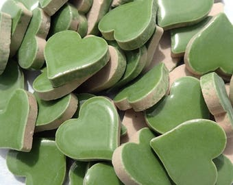 Moss Green Heart Mosaic Tiles - 25 Large Ceramic 5/8 inch Tiles in Medium Green