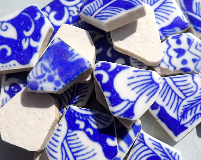 Blue and White Chunky Floral Mosaic Tiles - Half Pound
