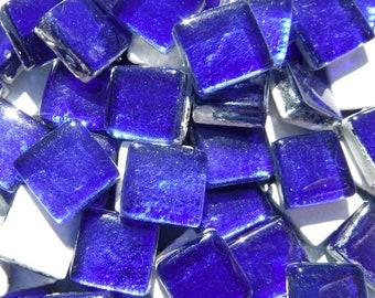 Cobalt Blue Foil Square Crystal Tiles - 12mm - 50g
