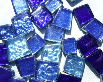 Triton Blues Glass Tiles - Metallic Foil - Assorted Shapes - 50 grams