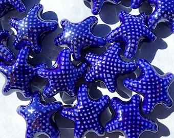 Dark Blue Starfish Beads - Ceramic Mosaic Tiles - 10 Puffy Beads - Jewelry Supplies