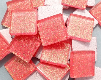 Bubblegum Pink Glitter Tiles - 20mm - Set of 25