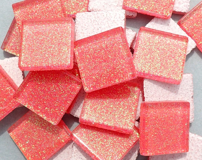 Bubblegum Pink Glitter Tiles - 20mm - Set of 25