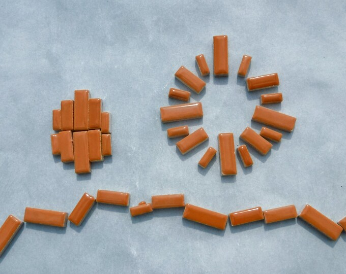 """Brown Mini Rectangles Mosaic Tiles - 50g Ceramic in Mix of 3 Sizes 3/8"""" and 5/8"""" and 3/4"""" in Tan"""