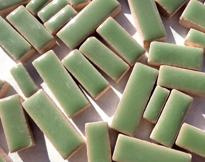 "Jade Green Mini Rectangles Mosaic Tiles - 50g Ceramic in Mix of 3 Sizes 1/2"" and 3/4"""