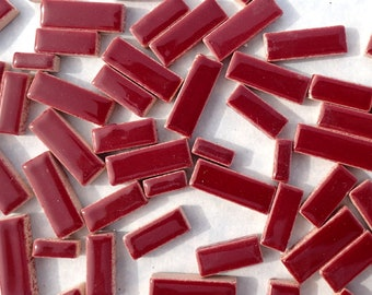 "Burgundy Mini Rectangles Mosaic Tiles - 50g Ceramic in Mix of 3 Sizes 3/8"" and 5/8"" and 3/4"" in Dark Red"