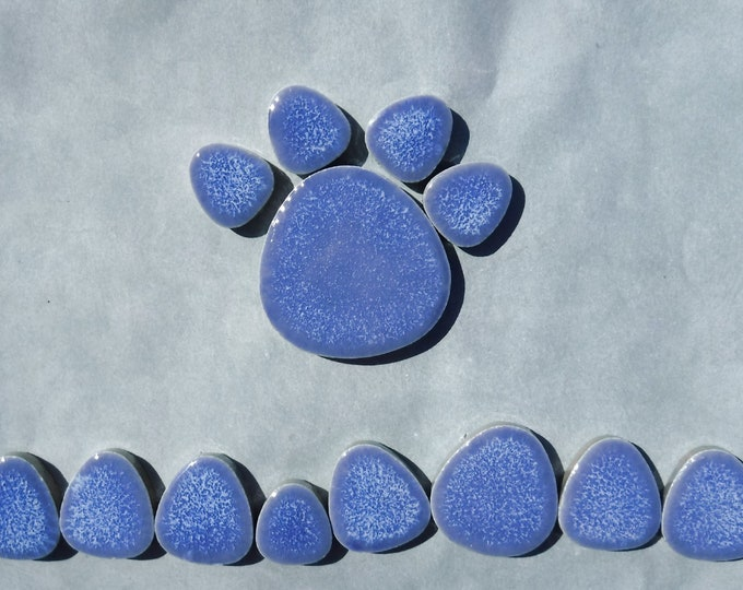 Periwinkle Blue Pebble Mosaic Tiles - Half Pound Porcelain Petals in Assorted Sizes