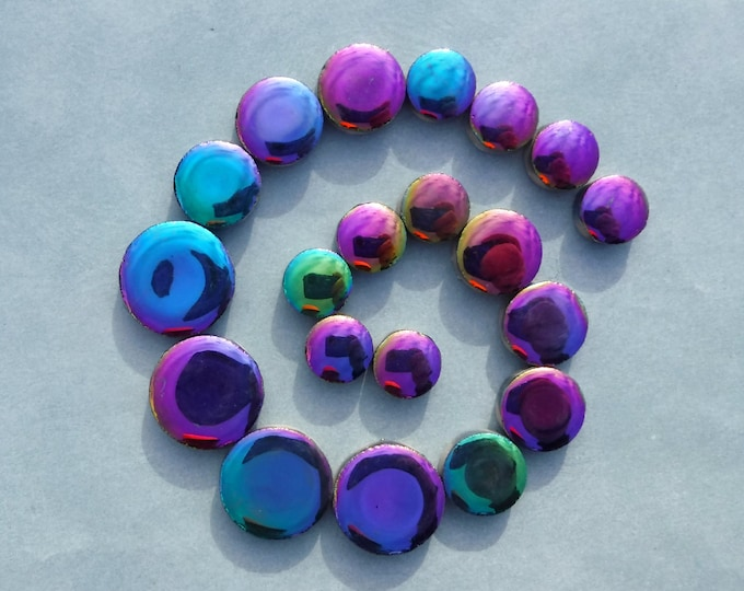 "Colorful Metallic Circles Mosaic Tiles - 50g Ceramic in Mix of 3 Sizes 1/2"" and 3/4"" and 5/8"""