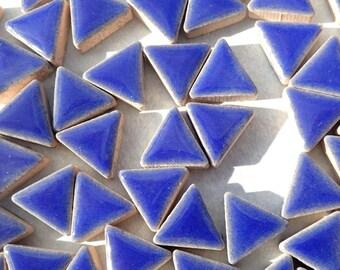 Denim Blue Mini Triangles Mosaic Tiles - 50g Ceramic - 15mm in Dark Blue