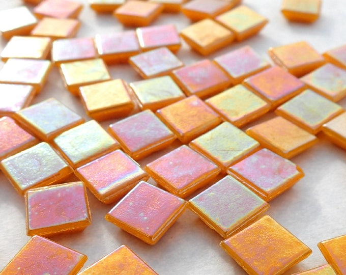 Orange Iridescent Venetian Glass Tiles - 1 cm - Approx 3/8 inch - Mosaic Tiles - 100 grams - 10mmx10mmx4mm Mini Pumpkin Orange Mosaic Tiles