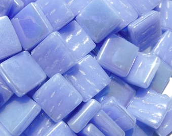 Pale Blue Iridescent Glass Squares - 12mm - Opaque Glass Solid Color - 50g